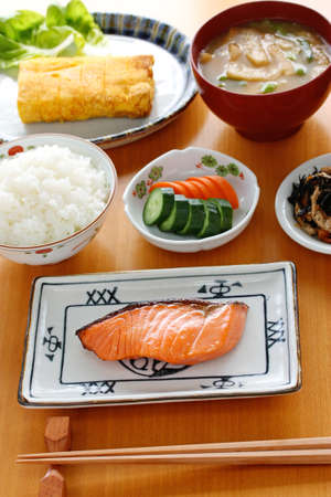 japanese meal: typical japanese breakfast image