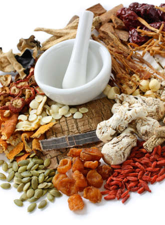 tcm: chinese food therapy, traditional chinese herbal medicine Stock Photo