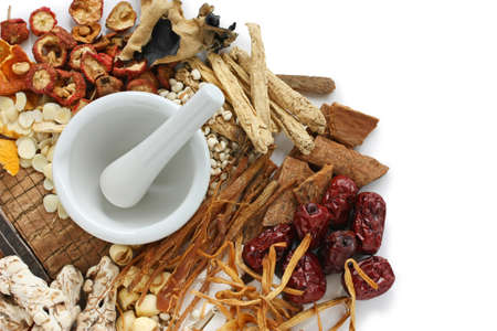 dried herb: chinese food therapy, traditional chinese herbal medicine Stock Photo
