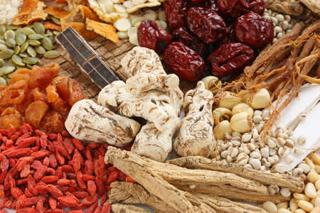 chinese herbal medicine: chinese food therapy, traditional chinese herbal medicine Stock Photo