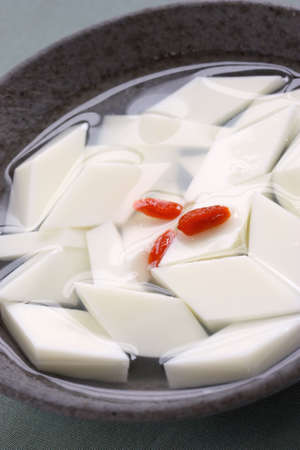 apricot kernels: almond tofu, almond jelly, almond pudding, chinese dessert Stock Photo