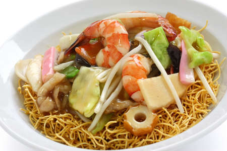 chop suey on deep-fried noodles, sara udon, japanese cuisine Stock Photo - 12882874