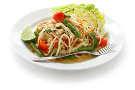 close up food: som tam, groene papaya salade, Thaise keuken