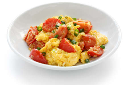 scrambled: scrambled eggs with tomatoes, chinese food Stock Photo