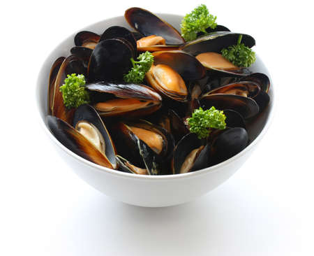 mussel: steamed mussels with white wine Stock Photo