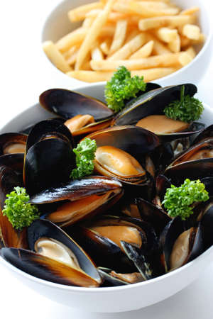 mussels: steamed mussels with white wine, and french fries