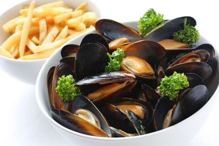 steamed mussels with white wine, and french fries