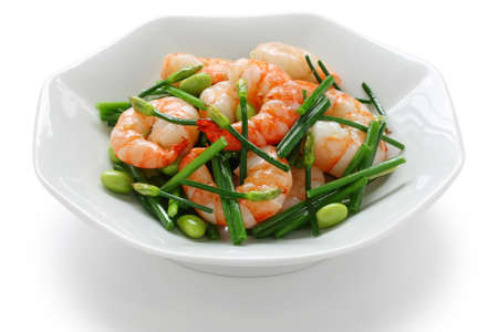 chives: stir-fry flowering chinese chives with prawns and edamame