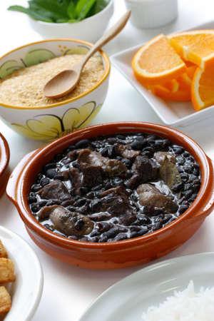 sausage pot: feijoada, black beans and meat stew, brazilian cuisine Stock Photo