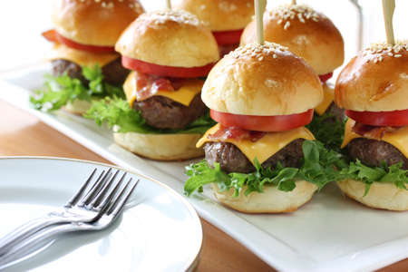 mini: mini hamburgers, party food Stock Photo