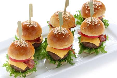 toothpick: mini burgers  Stock Photo