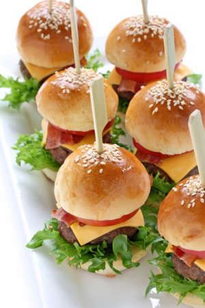 mini hamburgers, mini burgers, party food, finger food photo
