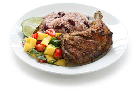 jamaican food: jerk chicken plate, jamaican food