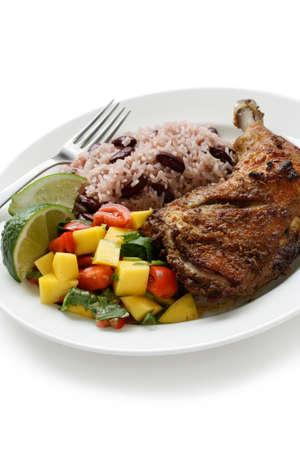 chicken rice: jerk chicken plate, jamaican food