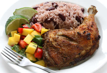 jerk chicken plate, jamaican food photo