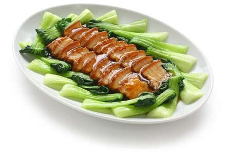 braised: sliced braised pork belly, chinese cuisine Stock Photo