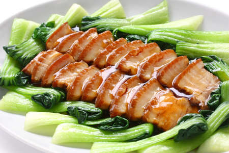 red braised: sliced braised pork belly, chinese cuisine Stock Photo