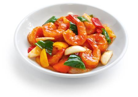 sweet peppers: sweet and sour shrimp, chinese food