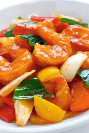 gamba: agridulce camarones, comida china