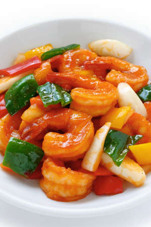 sweet and sour shrimp, chinese food photo