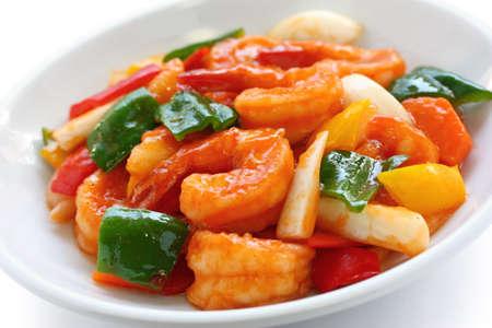 甘酸っぱいエビ、中国の食糧 写真素材