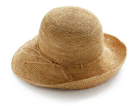 brede rand dames raffia zomer strooien hoed Stockfoto