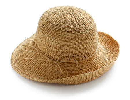 brim: wide brim ladies raffia summer straw hat Stock Photo