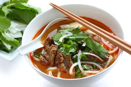 vietnamese food: bun bo hue, a bowl of beef & rice vermicelli soup, vietnamese noodle cuisine