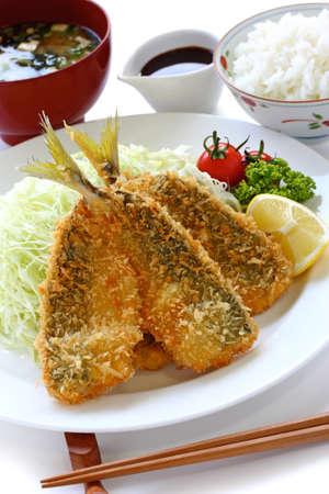 japanese lunch set meal, aji fry teishoku(deep fried horse mackerel, rice and miso soup) Stock Photo - 14746251