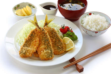 japanese lunch set meal, aji fry teishoku(deep fried horse mackerel, rice and miso soup) photo