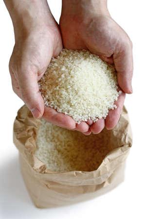 handful: scoop handfuls of rice