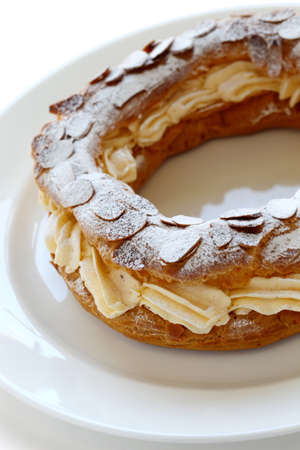 paris brest, choux pastry with praline cream, french bistro dessert Stock Photo - 14960492