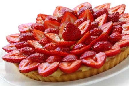 zelfgemaakte aardbei taart