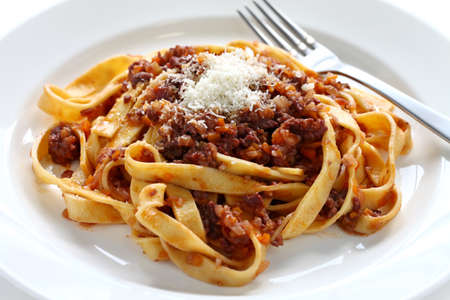 tagliatelle with ragu bolognese sauce, italian pasta cuisine