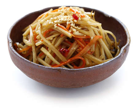 burdock: kinpira gobo, sauteed greater burdock root and carrot, japanese cuisine Stock Photo