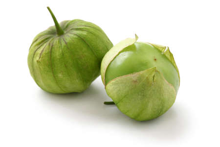 husk tomato: green tomatillo fruits, mexican vegetable, salsa verde ingredient Stock Photo