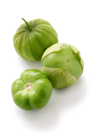 green tomatillo fruits, mexican vegetable, salsa verde ingredient Stock Photo
