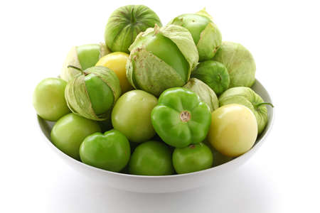 verde: green tomatillo fruits, mexican vegetable, salsa verde ingredient Stock Photo
