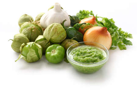 husk tomato: tomatillo salsa verde ingredients, mexican cuisine Stock Photo