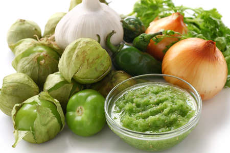 tomatillo salsa verde ingredients, mexican cuisine photo