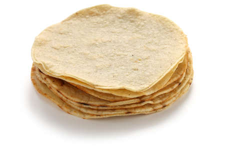 wrap:  a stack of corn tortillas, mexican food