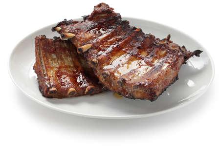 pork rib: costine di maiale alla brace di ricambio Archivio Fotografico