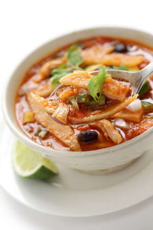 vegetable soup: tortilla soup, mexican cuisine
