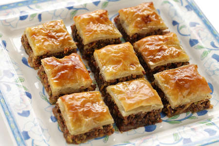 filo pastry: homemade baklava, turkish dessert Stock Photo
