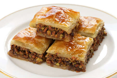 homemade baklava, turkish dessert photo