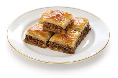 turkish dessert: homemade baklava, turkish dessert Stock Photo