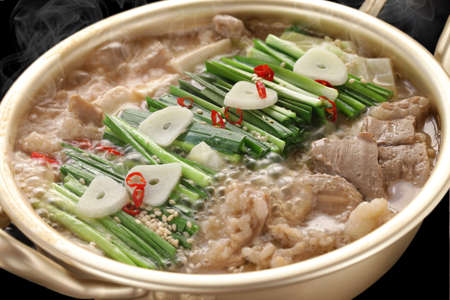 steaming variety meat hot pot, motsunabe, japanese cuisine Stock Photo