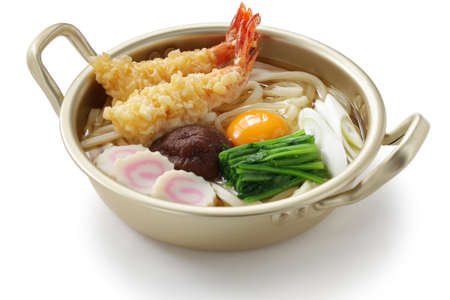 nabeyaki udon, japanese hot pot noodles photo