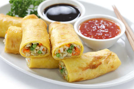 homemade vegetarian egg rolls Stock Photo - 16409246