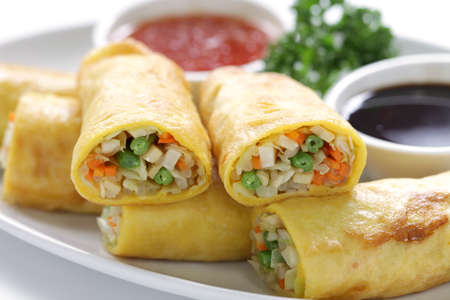roll: homemade egg rolls, vegetarian food Stock Photo